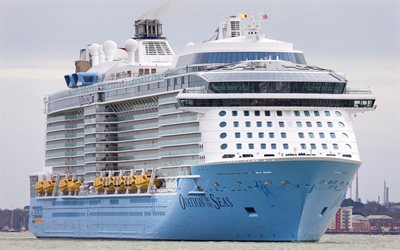 Ovation of the Seas, luxurious white ship, large cruise liner, Caribbean Sea, Royal Caribbean