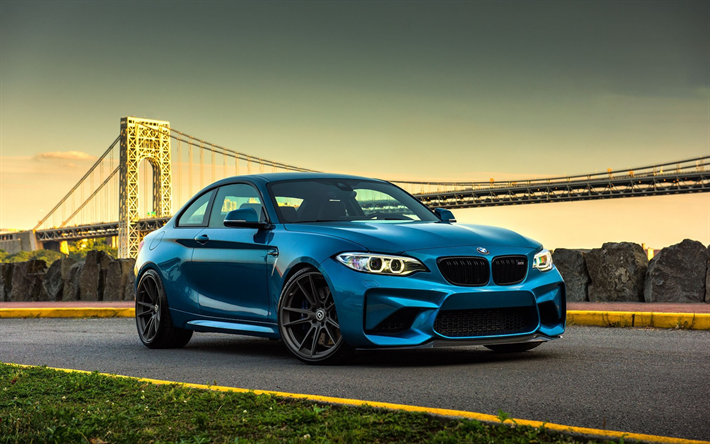 download wallpapers bmw m2 2017 blue sports coupe 2. Black Bedroom Furniture Sets. Home Design Ideas