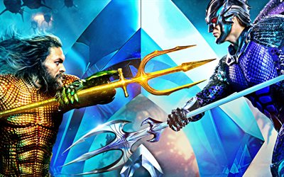 Aquaman, 2018, 4k, poster, promo, fantastic action movie, characters, Aquaman vs King Orm