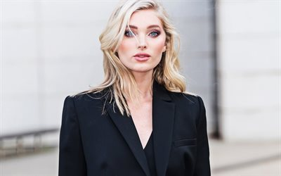 Elsa Hosk, photoshoot, portrait, Swedish fashion model, beautiful young woman, black jacket, Swedish top model, Victorias Secret