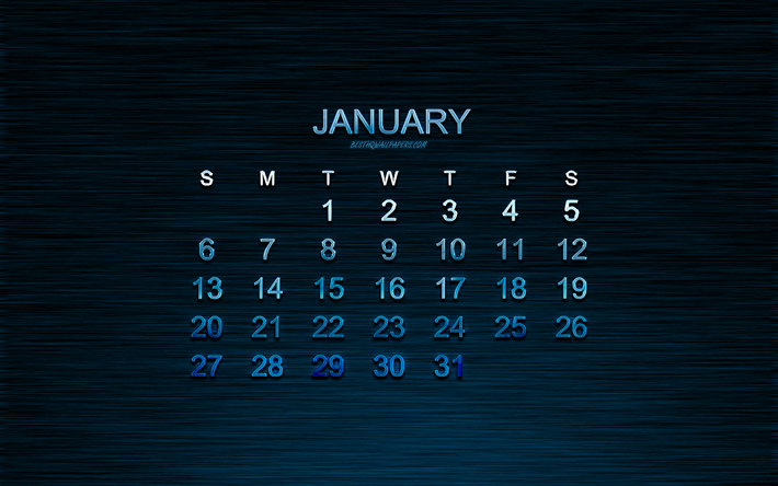 Download Wallpapers Calendar For January 2019 Blue Creative