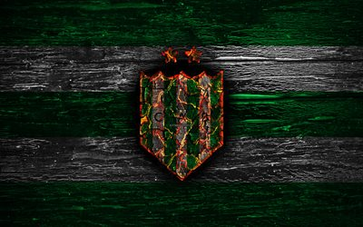 Banfield FC, fire logo, Argentine Primera Division, green and white lines, Argentinean football club, AAAJ, Argentina Superliga, football, soccer, logo, CA Banfield, wooden texture, Argentina