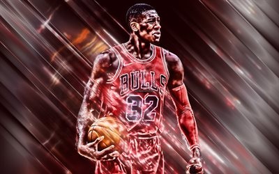 Kris Dunn, 4k, American basketball player, Chicago Bulls, NBA, USA, creative art, basketball, red creative background