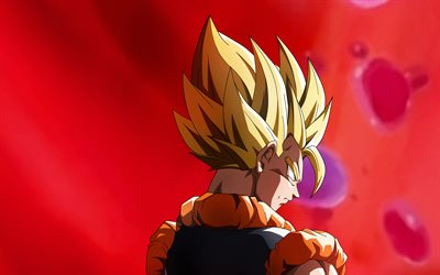 4k, Golden Goku, back view, Goku SSJ3, red background, Dragon Ball Super, manga, DBS, Son Goku