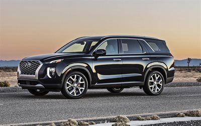 Hyundai Palisade, 2020, 4k, front view, new luxury black SUV, Korean new cars, USA, new black Palisade, Hyundai