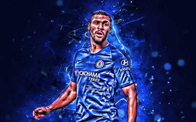 Ruben Loftus-Cheek, close-up, midfielder, Chelsea FC, english footballers, soccer, Premier League, Loftus-Cheek, neon lights, abstract art