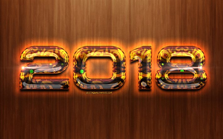 2019 brown digits, brown wooden background, glass 2019 art, Happy New Year 2019, brown 2019 digits, 2019 concepts, 2019 on brown background, 2019 year digits