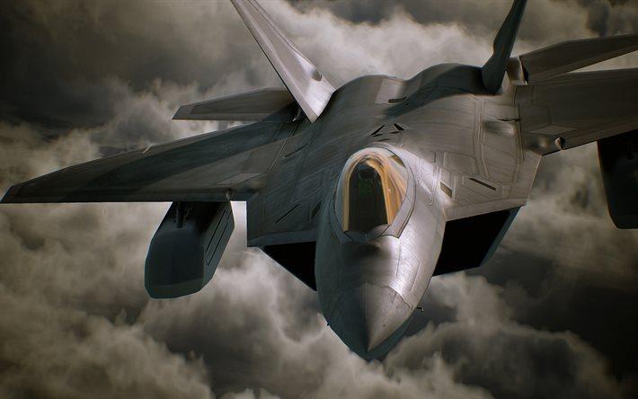 Download Wallpapers Ace Combat 7 2017 F 22 Flight