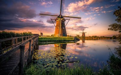 Download Wallpapers Windmills Sunset River Field Netherlands For Desktop Free Pictures For