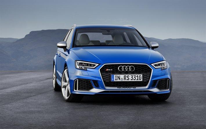 Audi RS3 Sportback, 2018, blue RS3, blue Audi, German cars, new Audi ...
