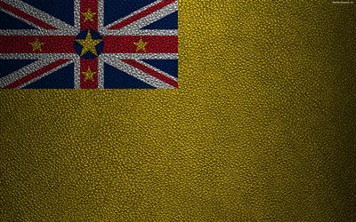Flag of Niue, 4K, leather texture, Oceania, Niue, world flags