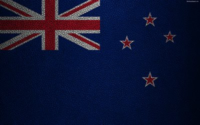Flag of New Zealand, 4k, leather texture, Oceania, New Zealand, flags of the world