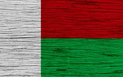 Flag of Madagascar, 4k, Africa, wooden texture, national symbols, Madagascar flag, art, Madagascar