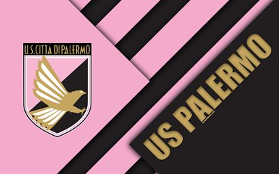 US Palermo, 4k, material design, logo, pink black abstraction, emblem, Italian football club, Palermo, Italy, Serie B
