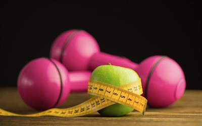 weight loss, diet, green apple, measuring tape, slimming, pink dumbbells