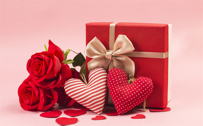 Download wallpapers Happy Valentines Day, February 14, red roses ...
