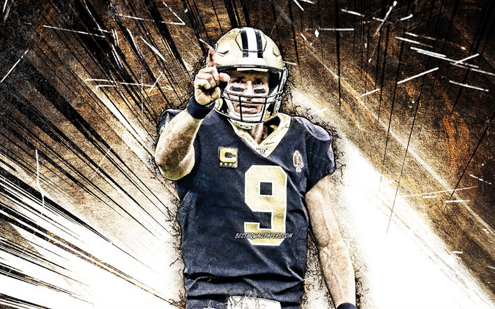 Download Wallpapers 4k Drew Brees Grunge Art New Orleans Saints Nfl American Football Quarterback Drew Christopher Brees National Football League Neon Lights Drew Brees New Orleans Saints Drew Brees 4k For Desktop