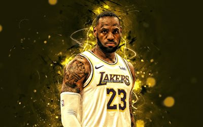 LeBron James, 2020, NBA, Los Angeles Lakers, white uniform, basketball stars, LeBron Raymone James Sr, neon lights, basketball, LA Lakers, creative, LeBron James Lakers