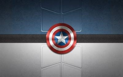 Captain America, logo, creative, superheroes, art