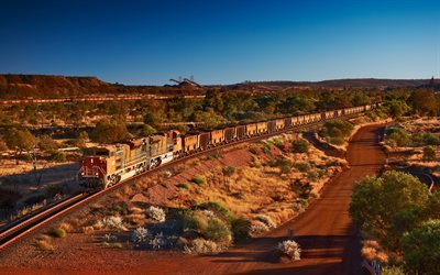 cargo train, Australia, mines, desert, railway, trains