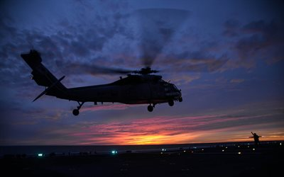 Sikorsky SH-60 Seahawk, American transport helicopter, US Navy, aircraft carrier, military helicopters
