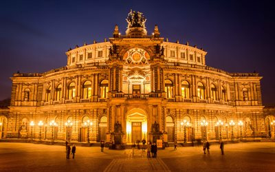 Semper Opera House, night, Dresden, Germany, Europe
