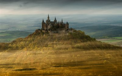 Hohenzollern Castle, mountains, german landmarks, Europe, Germany