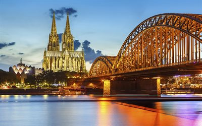 Cologne, lights, Cologne Cathedral, bridge, Germany, Europe