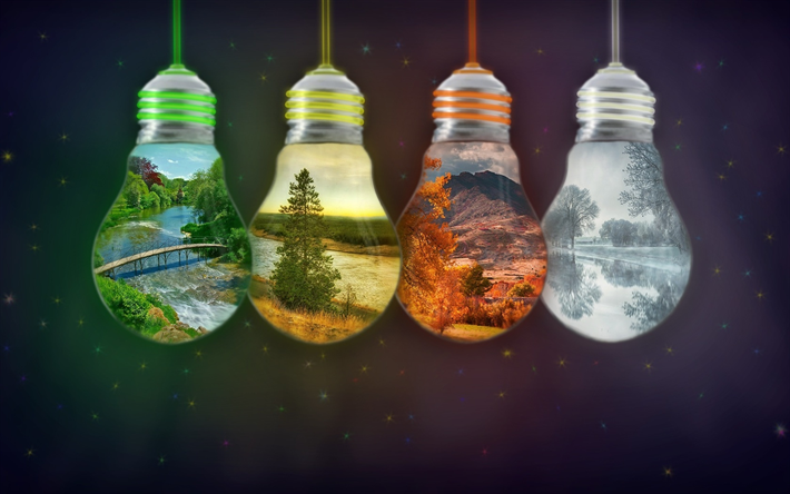 Download Wallpapers 4 Seasons Concept Light Bulbs Spring