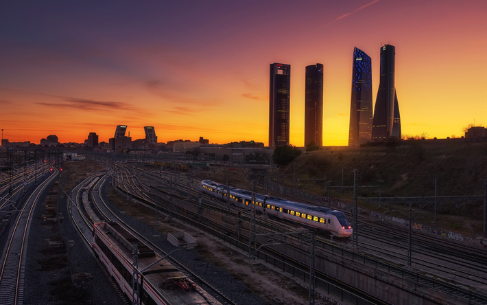 Madrid, sunset, evening, skyscrapers, railway, railway station, Spain
