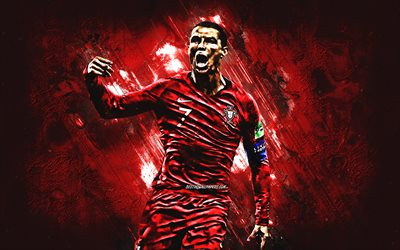 Cristiano Ronaldo, Portugal national football team, CR7, striker, red stone, 7 number, portrait, famous footballers, football, Portuguese footballers, grunge, Portugal
