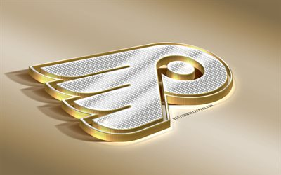 Philadelphia Flyers, American Hockey Club, NHL, Golden Silver logo, Philadelphia, Pennsylvania, USA, National Hockey League, 3d golden emblem, creative 3d art, hockey