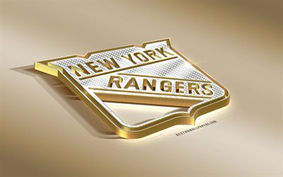 New York Rangers, American Hockey Club, NHL, Golden Silver logo, New York, USA, National Hockey League, 3d golden emblem, creative 3d art, hockey