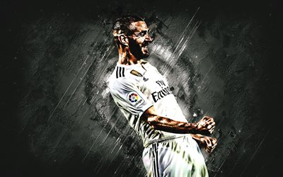 Karim Benzema, Real Madrid, striker, white stone, portrait, famous footballers, football, french footballers, grunge, La Liga, Spain
