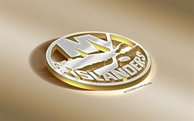 New York Islanders, American Hockey Club, NHL, Golden Silver logo, New York, USA, National Hockey League, 3d golden emblem, creative 3d art, hockey