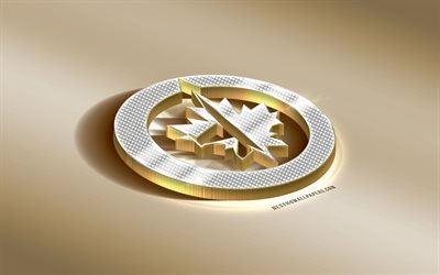 Winnipeg Jets, Canadian Hockey Club, NHL, Golden Silver logo, Winnipeg, Manitoba, Canada, USA, National Hockey League, 3d golden emblem, creative 3d art, hockey