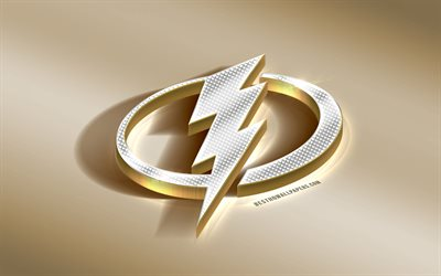 Tampa Bay Lightning, American Hockey Club, NHL, Golden Silver logo, Clearwater, Florida, USA, National Hockey League, 3d golden emblem, creative 3d art, hockey