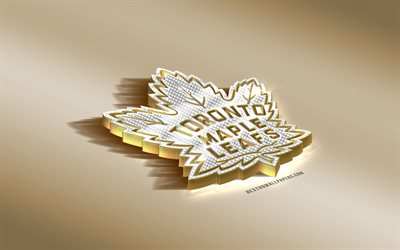 Toronto Maple Leafs, Canadian Hockey Club, NHL, Golden Silver logo, Toronto, Ontario, USA, National Hockey League, 3d golden emblem, creative 3d art, hockey