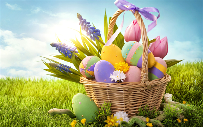 Easter eggs, spring, basket of eggs, spring flowers, Easter, concepts