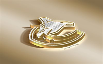 Vancouver Canucks, Canadian Hockey Club, NHL, Golden Silver logo, Vancouver, British Columbia, Canada, USA, National Hockey League, 3d golden emblem, creative 3d art, hockey