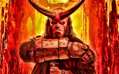 4k, Hellboy, fire, poster, 2019 movie, David Harbour, Hellboy Movie, action movie