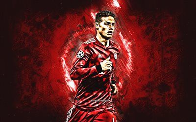 James Rodriguez, Bayern Munich FC, attacking midfielder, red stone, portrait, famous footballers, football, Colombian footballers, grunge, Bundesliga, Germany