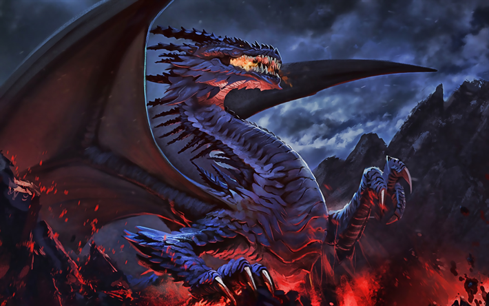 violet dragon, fire, darkness, night, fantasy art, monsters, dragons