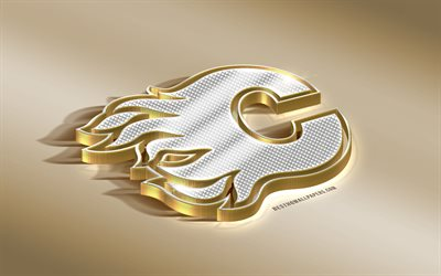 Calgary Flames, Canadian Hockey Club, NHL, Golden Silver logo, Calgary, Alberta, Canada, USA, National Hockey League, 3d golden emblem, creative 3d art, hockey