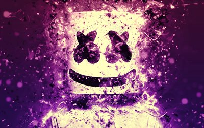 4k, Christopher Comstock, DJ Marshmello, violet neon, creative, american DJ, Marshmello 4k, artwork, Marshmello DJ, superstars, Marshmello, DJs