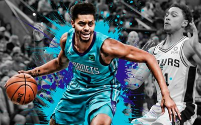 Jeremy Lamb, joueur de basket Américain, Charlotte Hornets, Attaquant, défenseur, bleu-violet éclaboussures de peinture, art créatif, de la NBA, etats-unis, le basket-ball, de la National Basketball Association, grunge