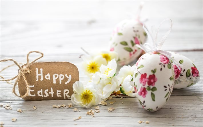 Happy Easter, eggs, flowers, spring, Easter