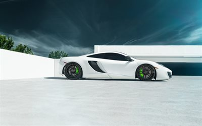 McLaren MP4-12C, white McLaren, Hypercar, green brake calipers, tuning, McLaren