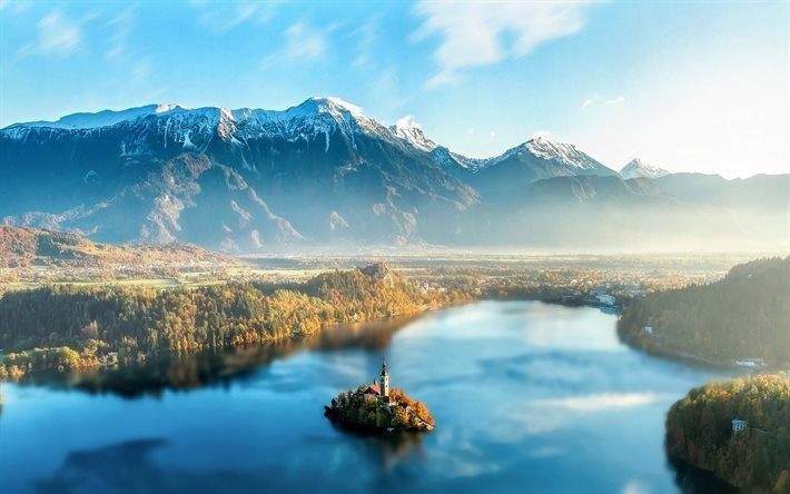 Bled, lake, forest, mountains, Slovenia