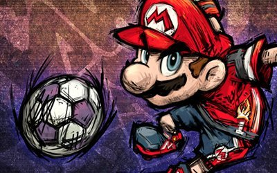 Super Mario, football, art, soccer